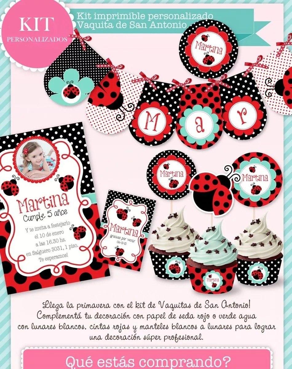 Kit Imprimible Vaquitas De San Antonio Invitación Candybar 1