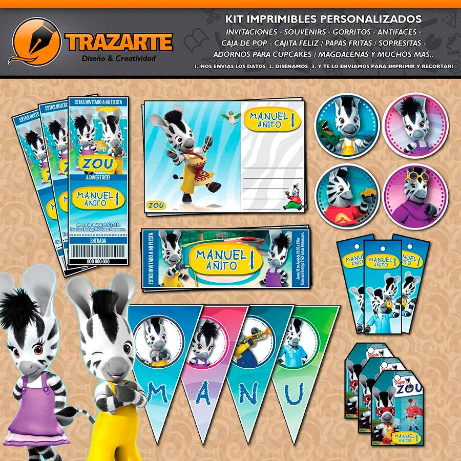 Kit Imprimible Zou La Cebra Personalizado Candy Bar Cumpleañ