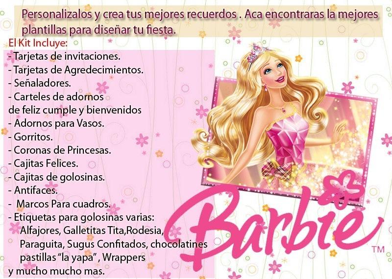 Kit Invitaciones Barbie Escuela De Princesas