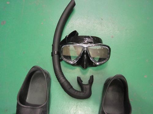 kit mergulho pesca sub  arpão pe de pato mascara silicone