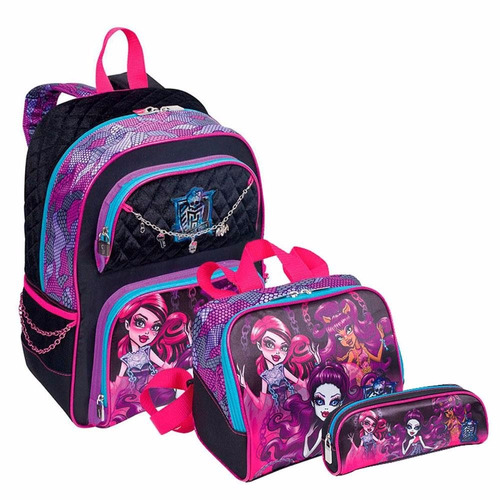 kit mochila escolar monster high 16y pulseira costas sestini