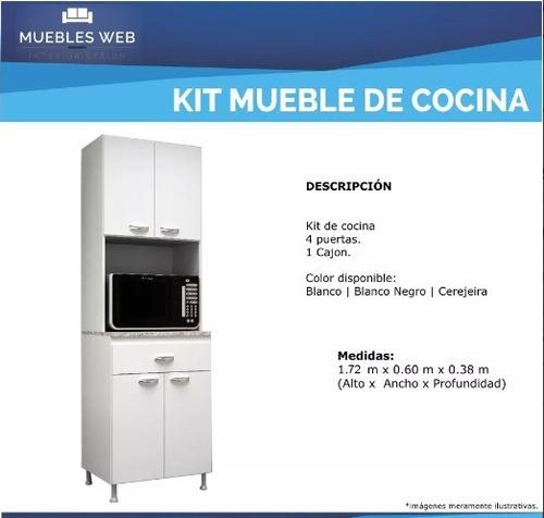 kit mueble cocina 4 puertas 1 cajón blanco
