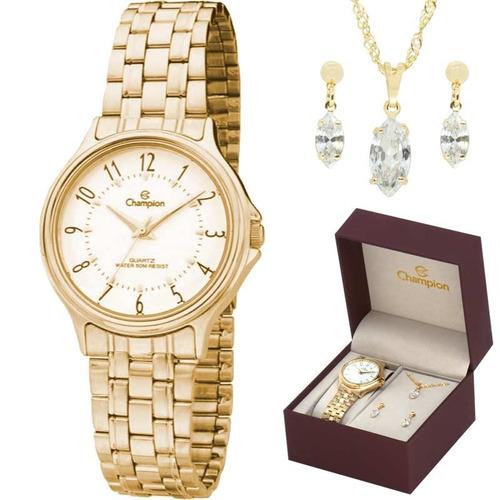 kit relógio champion feminino com colar e brincos ch22046w