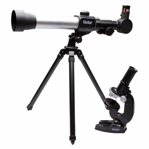 kit telescopio y microscopio vivitar vivtelmic20 tripode