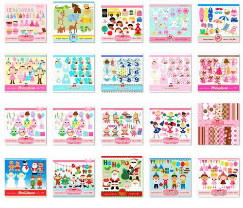 Kits Fondos Imprimibles - Personajes - Colección Cherry - $ 129,99 ...