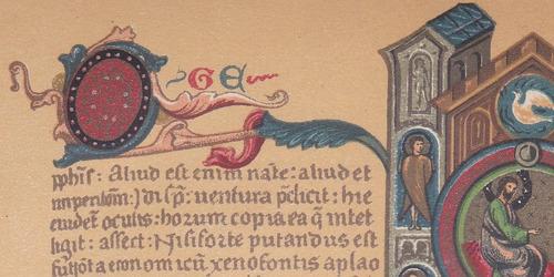 lamina cromolitografía reproducción biblia siglo catorce