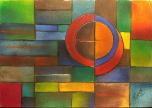 láminas autor uruguayo oleo y acrílico,  abstracto.