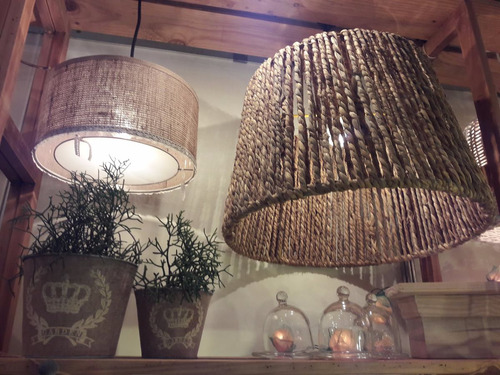 lámpara de hierro y cardo trenzado rustica ideal barbacoa