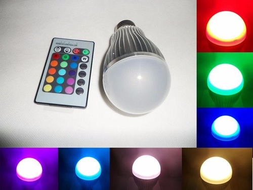 lampara led 3w rgb a control remoto