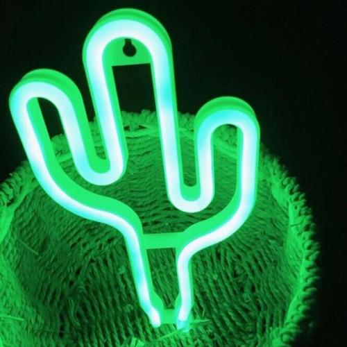 lampara led decorativa cactus - tipo neon - color verde