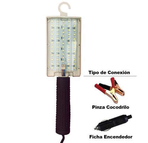 lampara led portátil 12v c/ pinza cocodrilo/ficha encendedor