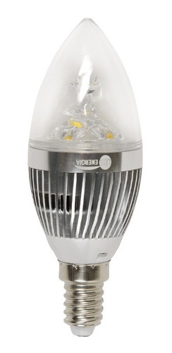lámpara led vela 3 w mignon e14 base metal brillo oferta 7+1