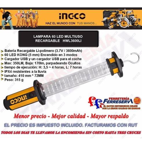 lampara linterna 60 led bateria recargable ingco hwl3600li