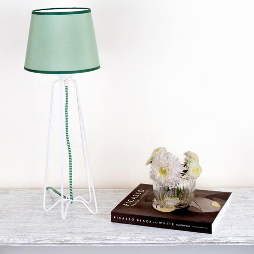 lampara mesa velador alambre pantalla tela blanco artelamp