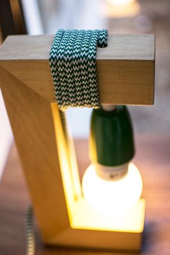 lampara mesa velador madera naranja artelamp