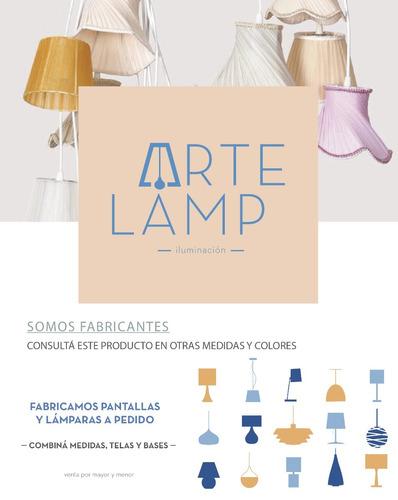 lampara mesa velador pantalla conica tela chocolate artelamp