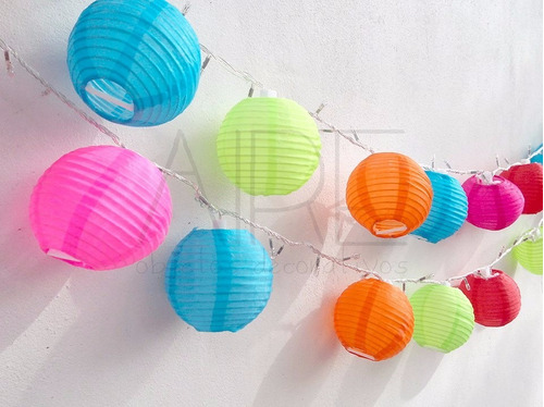 lamparas chinas de papel caja x 10 varios colores