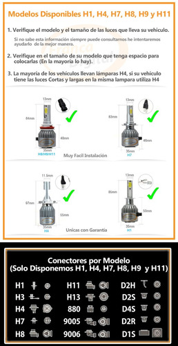 lámparas luces cree led auto h1 h7 h8 h9 h11 6000k 8000l x2