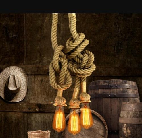 lamparas vintage colgantes soga cable textil focos carbono