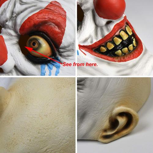 larpgears halloween costume latex payaso máscara para fie