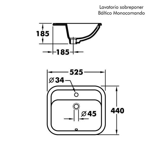 lavatorio olmos® sobreponer báltico monocomando blanco