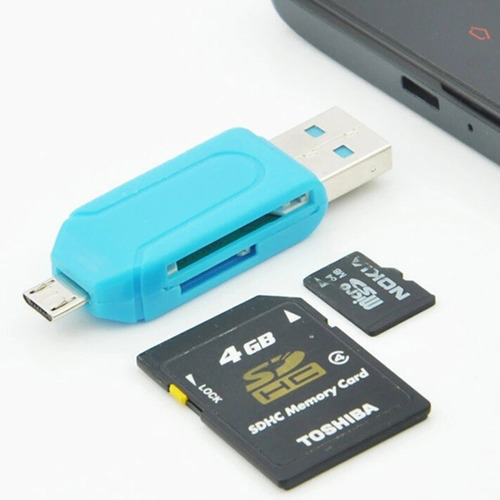 lector adaptador otg micro-usb pc celular memoria micro-sd