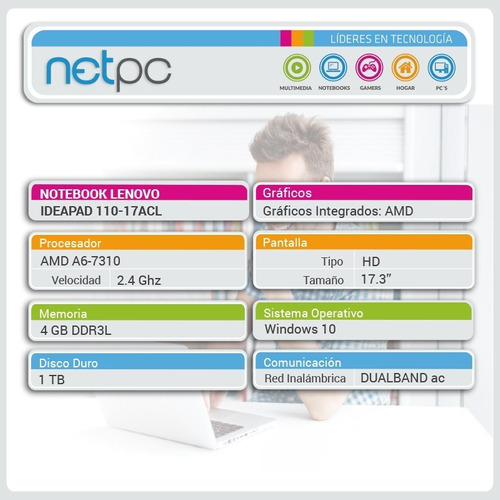 lenovo ideapad 110-17acl amd a6/4gb/1tb/hd - outlet - netpc