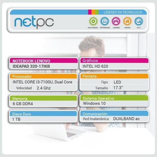 lenovo ideapad 320 - 17ikb i3/6gb/1tb - outlet - netpc