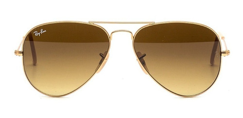 lentes ray-ban aviador dorado marron degrade talle p 55-14