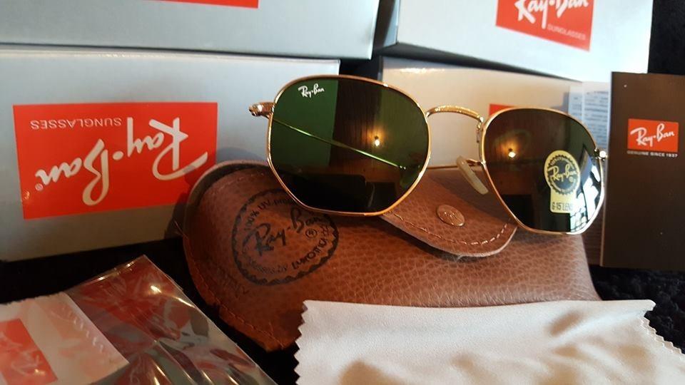 Lentes Ray-ban Rb 3548 Hexagonal Dorado Verde Stock -   1.700,00 en ... 6714f69443