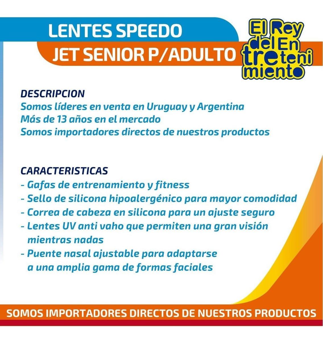52fc9c0bf80d Lentes Speedo Jet Senior Natación Piscina P/ Adulto - El Rey