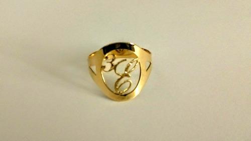 letra ouro anel