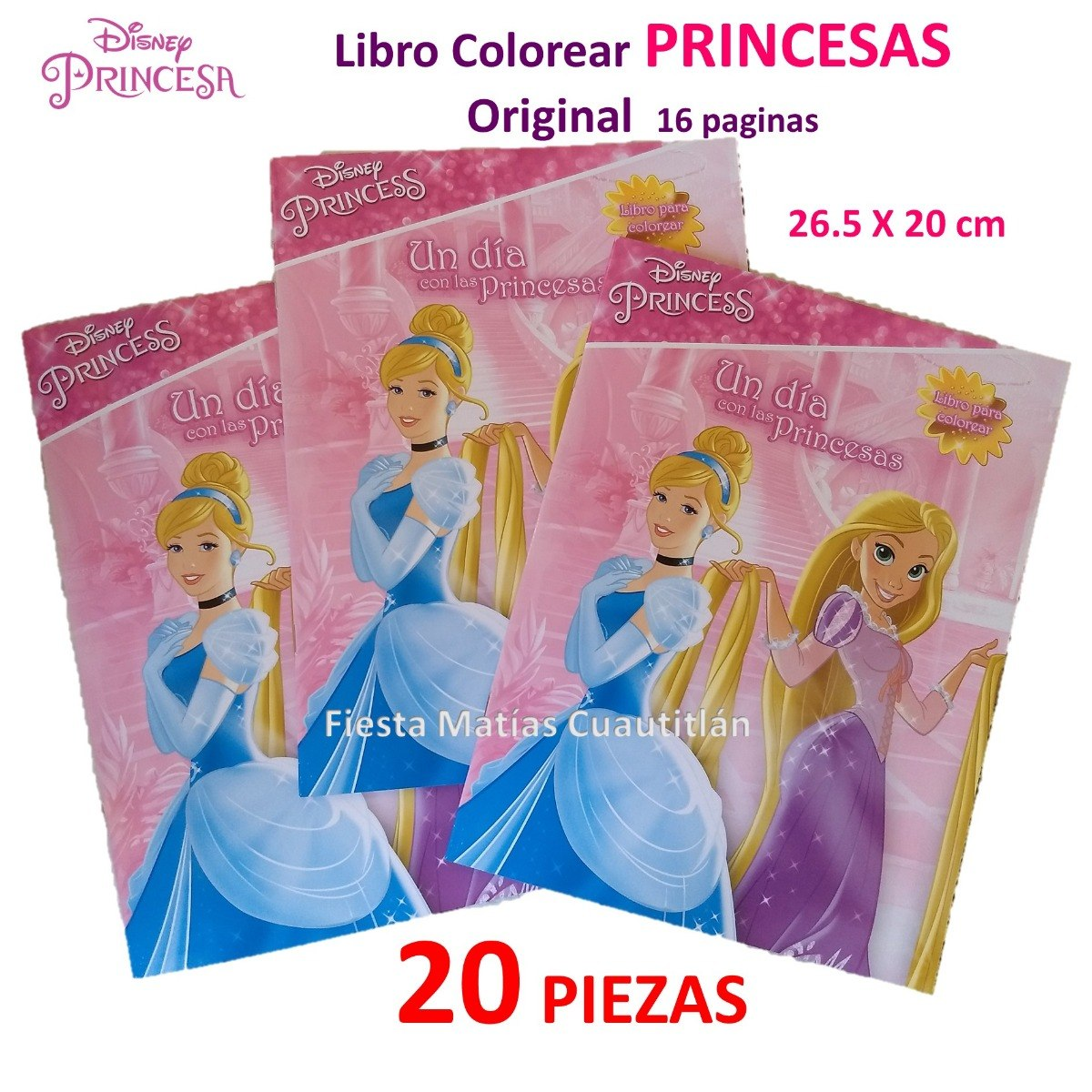 Libro Colorear Princesas Disney 20 Piezas Princess - $ 140.00 en ...