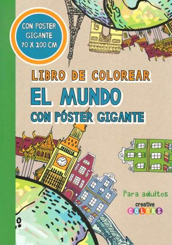 libro de colorear el mundo con poster gigante - art relax