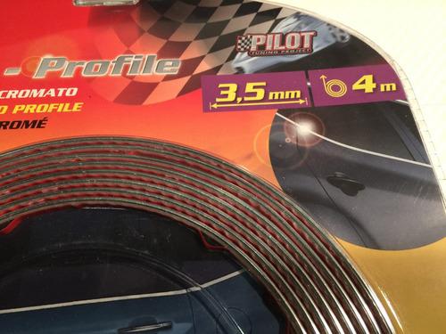 linea decorativa autoadhesiva cromada tuning 3.5mmx4m