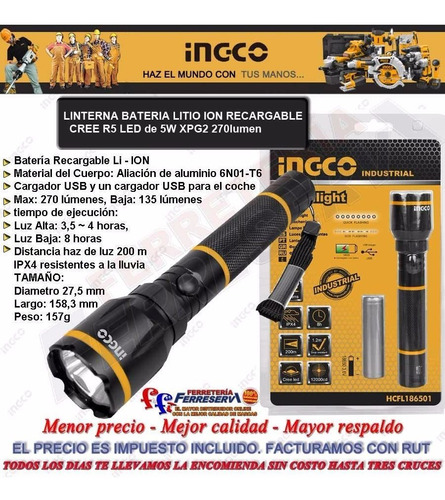 linterna cree led 5w 16cm ingco bateria litio recargable
