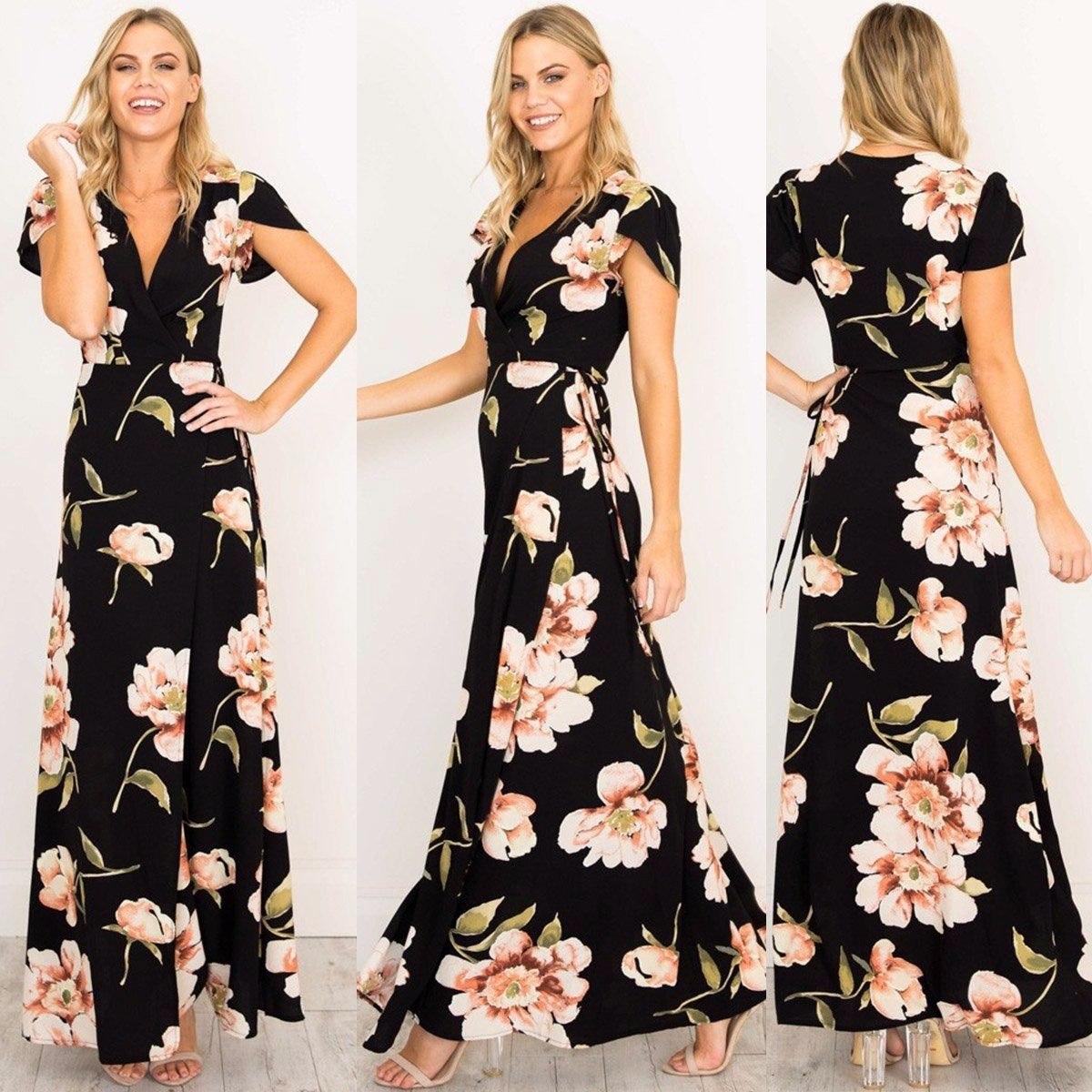 nueva colección precio justo originales Liquido Vestido Largo De Fiesta O Casual Floreado