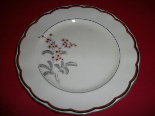 liquido,antiguo plato porcelana pintado a mano borde oro