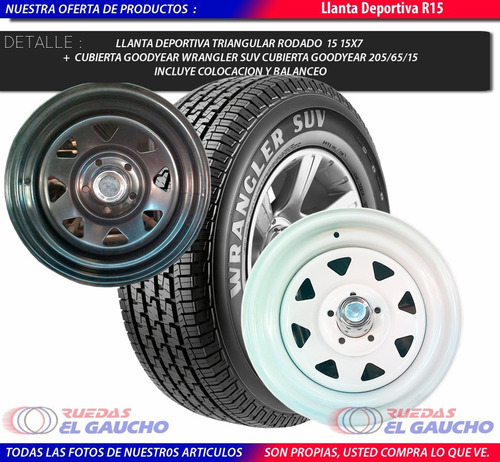 llanta triangular r 15+ cubierta good year rsa 225/75/15 reg