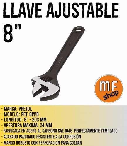 llave ajustable 8  pretul acero al carbono oferta mf shop