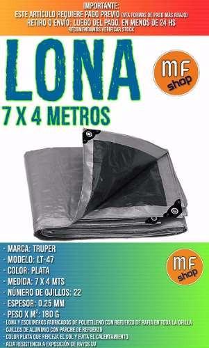 lona impermeable truper plata 7 x 4  metros camping mf shop