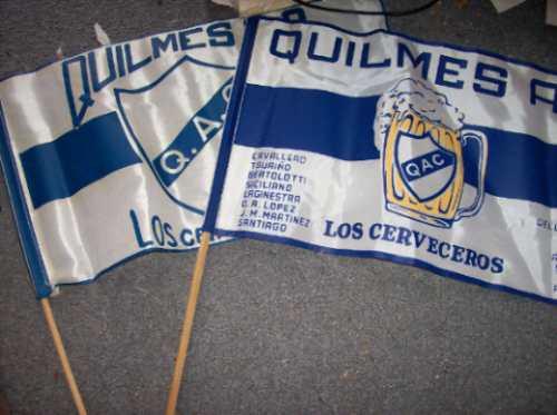 lote de 2 banderas viejas quilmes de tela - no envio