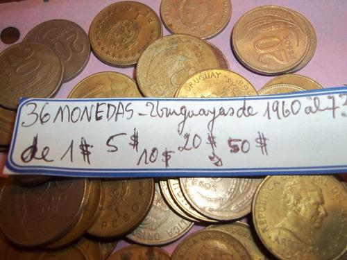 lote de 36 monedas uruguyas años 1960 a 1973 antiguas !!!