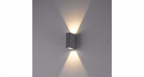 luminaria aplique exterior led 2x3w bidireccional gris alum