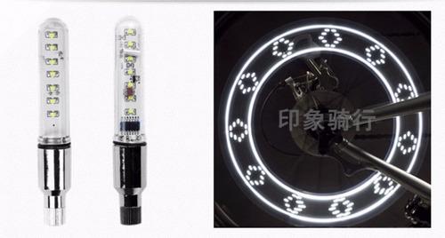 luz led  valvula de bicicleta con imagenes