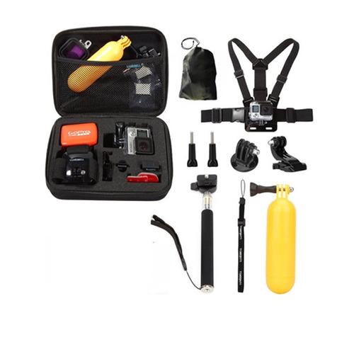 maletín accesorios para gopro. selfie stick, flotador, etc