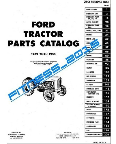 manual despiece catalogo parte tractor ford 2n 8n 9n naa