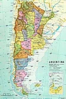 Mapa De Argentina Provincias.Mapa De Argentina Division Politica Provincias 45x30 Cm