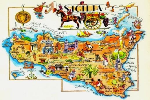 Mapa De Sicilia Italia.Mapa De Sicilia Isla De Italia Lamina 45x30 Cm