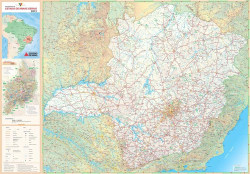 mapa rodoviário minas gerais hd 80x120cm decoração parede mg